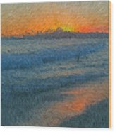 Sunset Surfers Wood Print