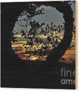 Sunset Through A Heart Of Branches Wood Print