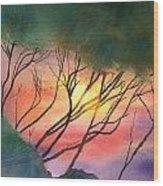 Sunset Through The Trees Wood Print