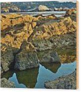 Sunset Tidepool Larry Darnell Point Lobos Central California Landscape Wood Print