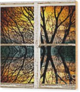 Sunset Tree Silhouette Abstract Picture Window View Wood Print
