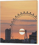 Sunset Viewed Through The London Eye Wood Print