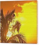 Sunset, Wailea, Maui, Hawaii, Usa Wood Print