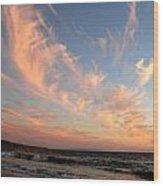 Sunset Wispy Sky Wood Print