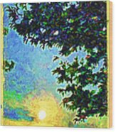 Sunset With Leaves Wood Print