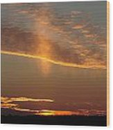 Sunset With Mist Wood Print