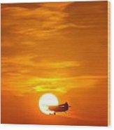 Sunset With Plane Wood Print