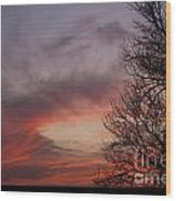 Sunset With Trees Wood Print