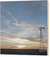 Sunset With Windmill Wood Print