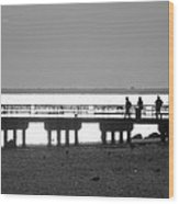 Sunsets On Coney Island In Black And White Wood Print
