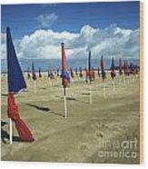 Sunshade On The Beach. Deauville. Normandy Wood Print by Bernard Jaubert