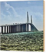 Sunshine Skyway Bridge - Tampa Bay Wood Print