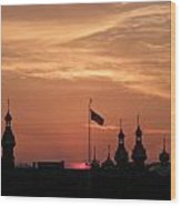 Sunst Over The University Of Tampa Wood Print