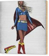 Super Girl Wood Print by Frederico Borges