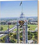 Superman And Dallas Wood Print by Malania Hammer