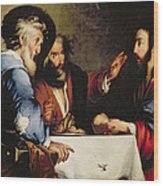 Supper At Emmaus Wood Print by Bernardo Strozzi
