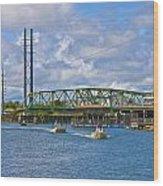 Surf City Swing Bridge Wood Print