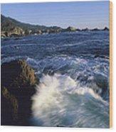 Surf Pounds And Swirls Around Bird Rock Wood Print by Rich Reid