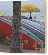 Surfboards On Waikiki Beach Wood Print