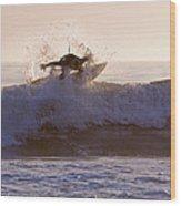 Surfer At Dusk Riding A Wave At Rincon Wood Print