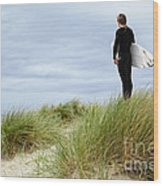 Surfer At The Beach Checking Out The Ocean Waves Wood Print
