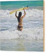 Surfer Girl Wood Print
