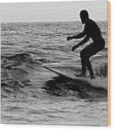 Surfer Going With The Flow Wood Print