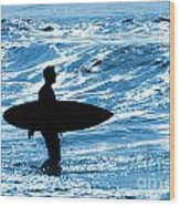 Surfer Silhouette Wood Print by Carlos Caetano