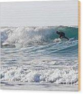 Surfers At Porthtowan Cornwall Wood Print
