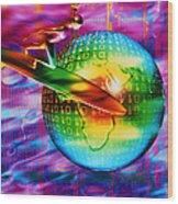 Surfing Cyberspace Wood Print