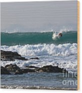 Surfing In Cornwall Wood Print by Brian Roscorla