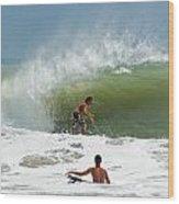Surfing In The Wake Of Hurricane Irene Wood Print