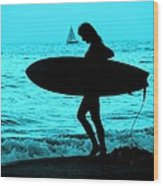 Surfs Up Blue Wood Print