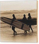Surfs Up Sephia Wood Print