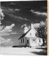 Surreal Black White Infrared Black Sky Lighthouse - Traverse City Michigan Mission Point Lighthouse Wood Print