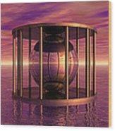 Metal Cage Floating In Water Wood Print