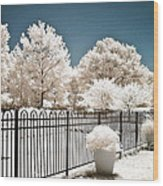 Surreal Michigan Infrared Nature - Dreamy Color Infrared Nature Fence Landscape Michigan Infrared Wood Print