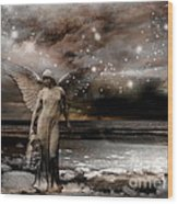 Surreal Fantasy Celestial Angel With Stars Wood Print