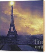 Surreal Fantasy Paris Eiffel Tower Sunset Sky Scene Wood Print by Kathy Fornal