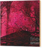 Surreal Fantasy Red Nature Trees And Birds Wood Print by Kathy Fornal