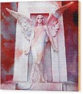 Surreal Impressionistic Red White Angel Art  Wood Print