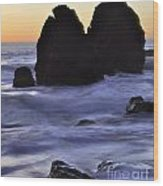 Surreal Surf Cascading On The Rocks Wood Print