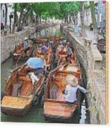 Suzhou Canal Traffic Jam Wood Print