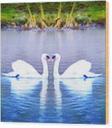 Swan Love Wood Print by Bill Cannon