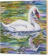Swan Summer Wood Print