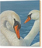 Swans In Love Wood Print