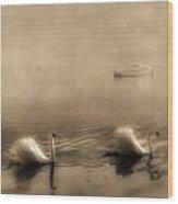 Swans Wood Print by Joana Kruse