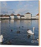Swans Seen At Nymphenburg Palace Wood Print
