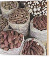 Sweet Potato And Cassava Roots Wood Print