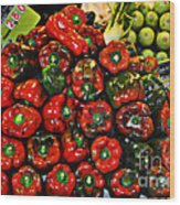 Sweet Red Peppers Wood Print